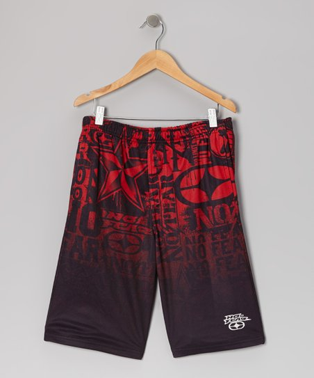 Red & Black Mesh Shorts - Boys