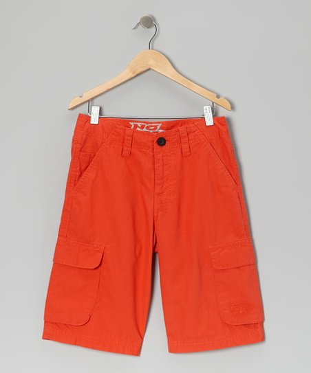 Orange Ripstop Cargo Shorts - Boys