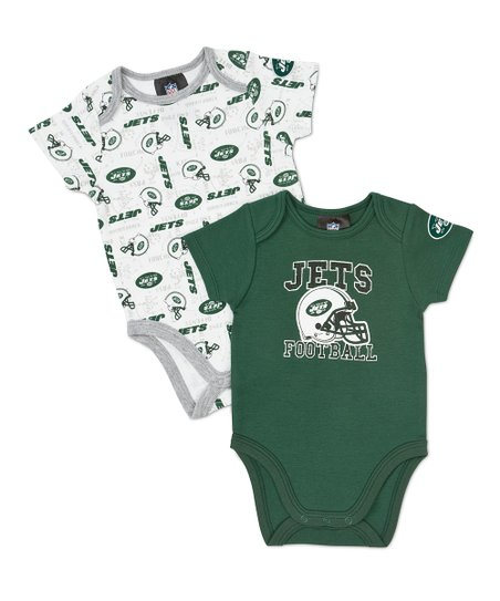 White & Green New York Jets Bodysuit Set - Infant