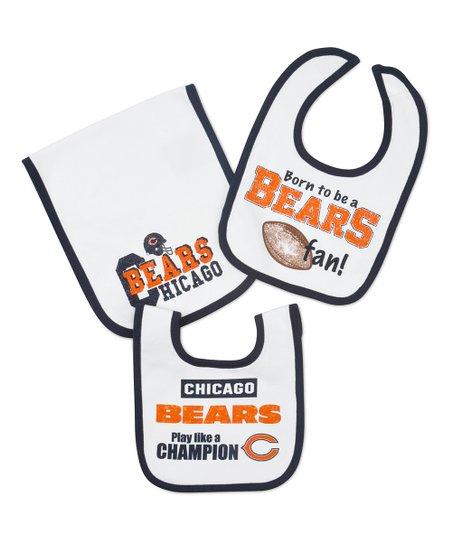 White Chicago Bears Burp Cloth & Bib Set