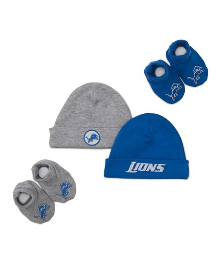 Blue & Gray Detroit Lions Beanie & Booties Set - Kids