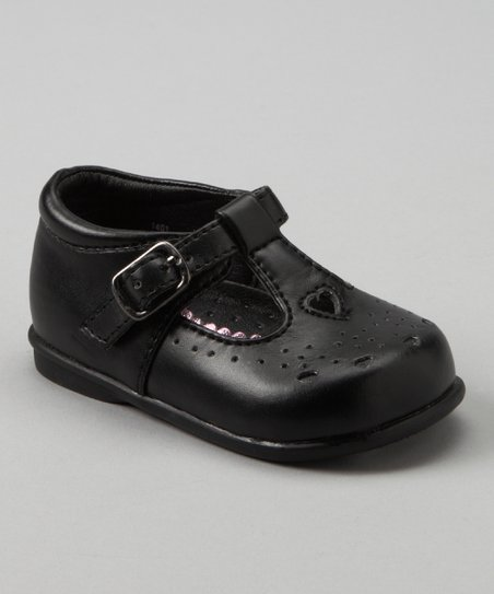Black Perforated T-Strap Shoe