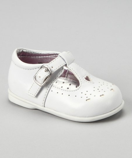 White Perforated T-Strap Shoe