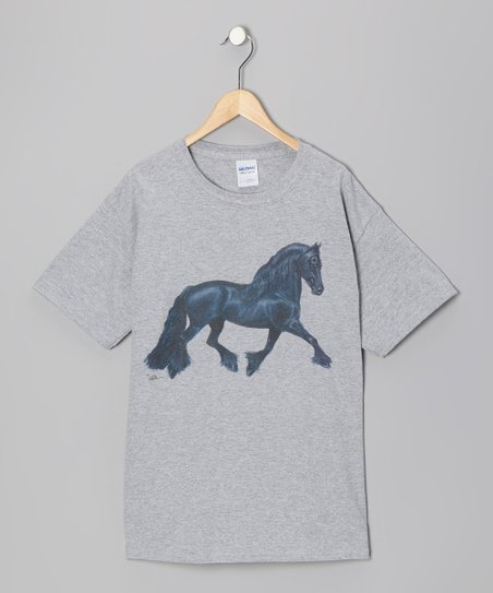 Gray Fresian Tee - Girls