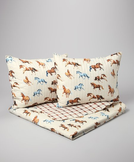 Cream Horses All Over Full/Queen Quilt Set
