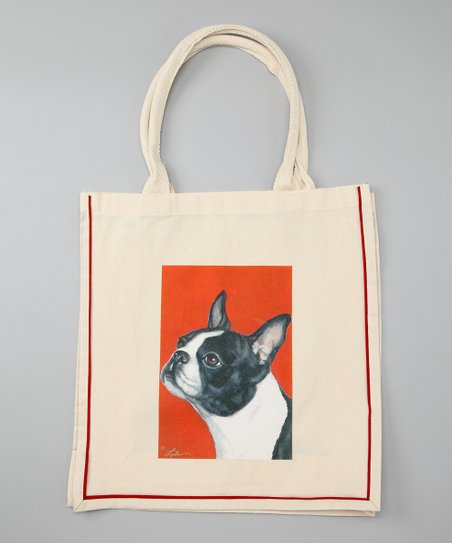 Natural Boston Terrier Shopper Tote