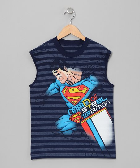 Navy Stripe Superman Tank - Boys
