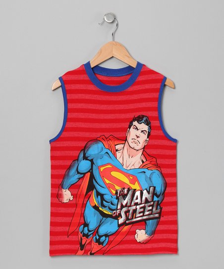 Red Stripe Superman Tank - Boys