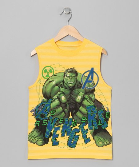 Yellow Hulk Ribbed Tank - Boys