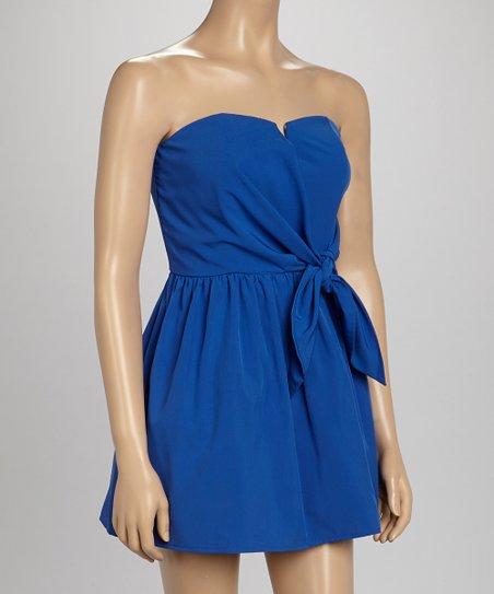 Blue Bow Strapless Dress
