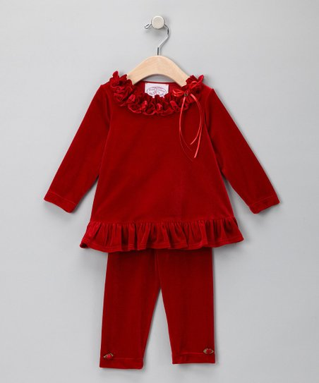 Red Ruched Stretch Velvet Tunic & Leggings - Infant & Toddler
