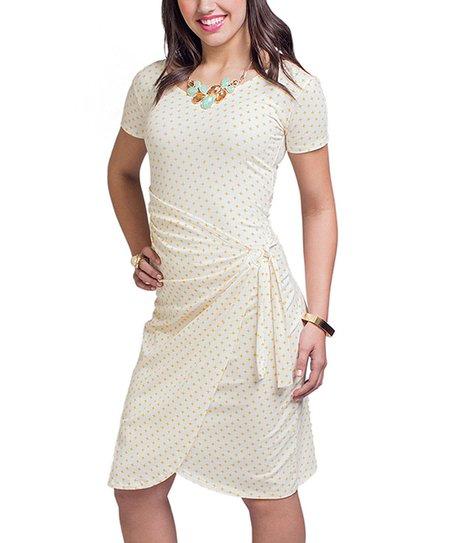 Yellow Twinkle Dot Wrap Dress