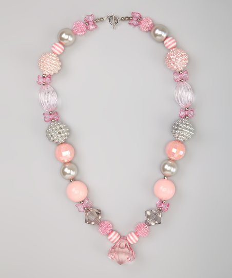 Pink & Silver Ballerina Bead Necklace