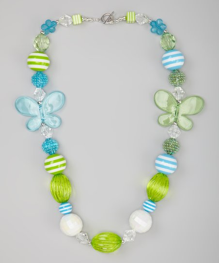 Lime & Blue Butterfly Bead Necklace