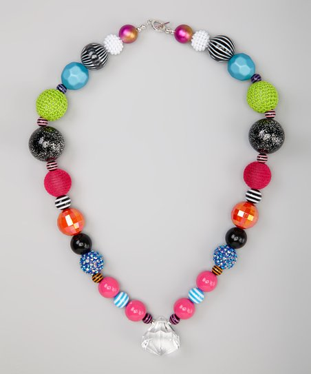Pink & Green Disco Bead Necklace