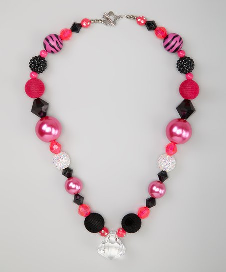 Hot Pink &amp; Black Crystal Bead Necklace