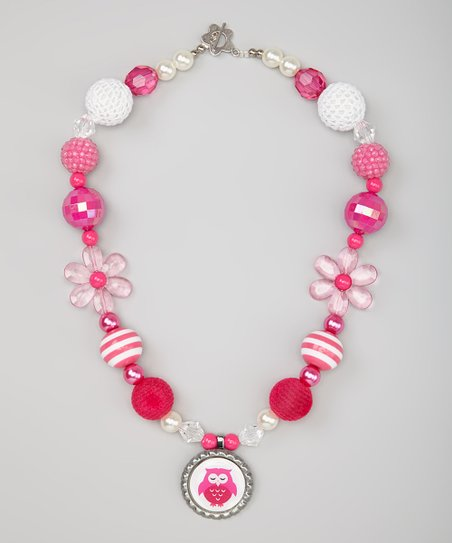 Pink & White Owl Bead Necklace
