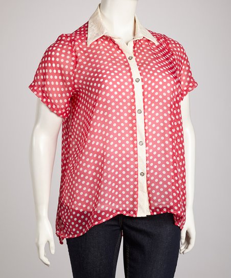 Fuchsia Sheer Polka Dot Cutout Back Button-Up Top - Plus