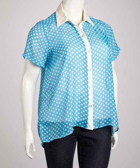Turquoise Sheer Polka Dot Cutout Back Button-Up Top - Plus