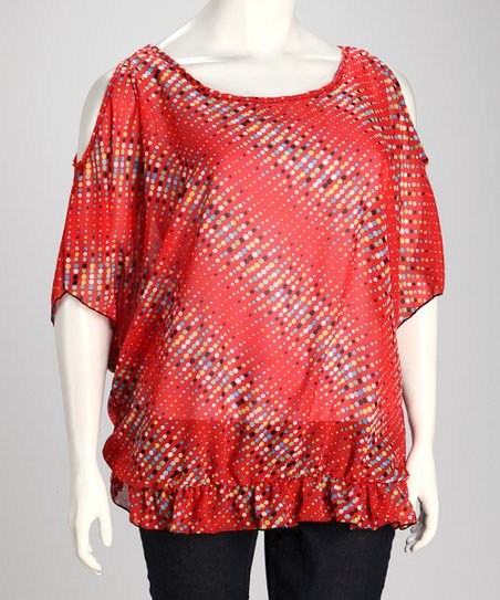 Red Diagonal Dot Plus-Size Cutout Top