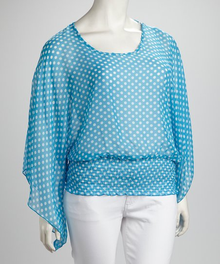 Aqua Sheer Polka Dot Smocked Top - Plus