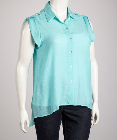 Aqua Surplice Back Button-Up Top - Plus