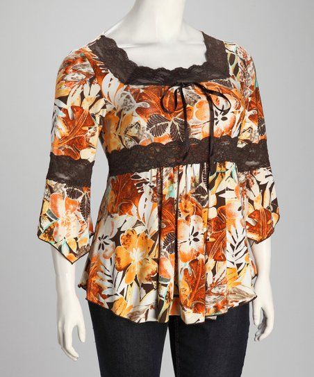 Orange & Brown Floral Plus-Size Bell-Sleeve Top