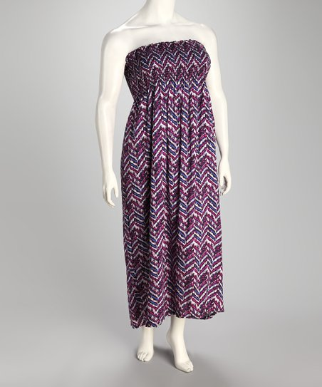 Magenta Zigzag Shirred Plus-Size Strapless Maxi Dress