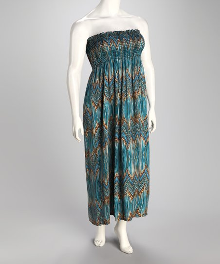 Turquoise Zigzag Plus-Size Strapless Maxi Dress