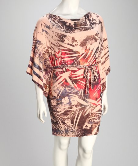 Peach Sublimation Plus-Size Drape Sleeve Dress