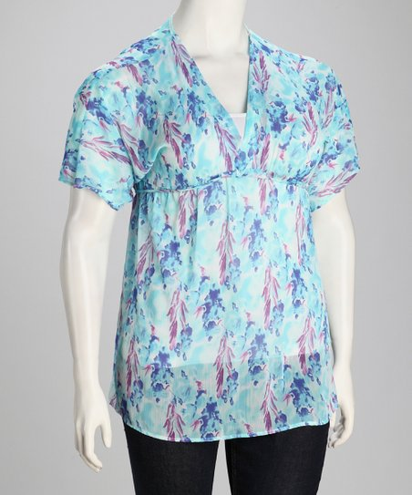Blue & Purple Sheer Plus-Size Babydoll Tunic