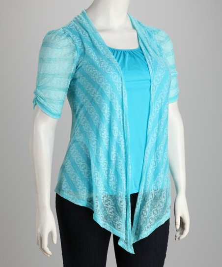 Turquoise Layered Top - Plus