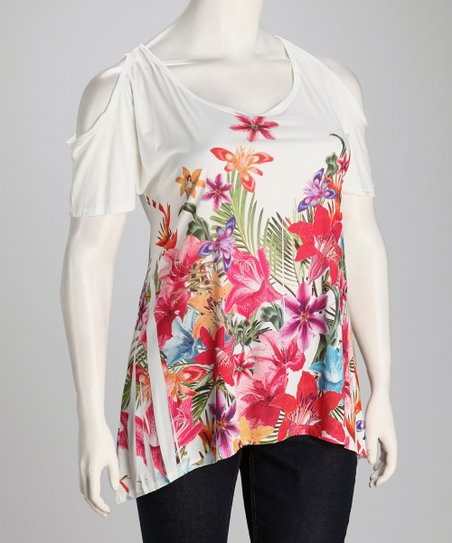 White Flower Sublimation Plus-Size Angel-Sleeve Top