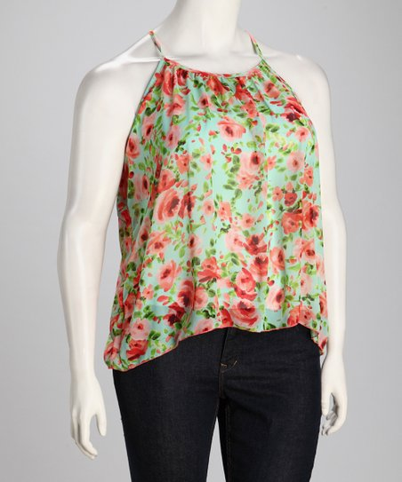 Mint & Peach Floral Plus-Size Layered Tank