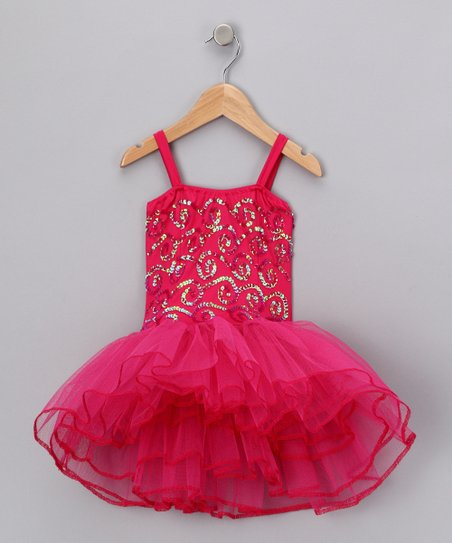 Fuchsia Stella Luna Skirted Leotard - Toddler & Girls