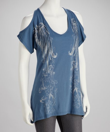 Blue Tattoo Cutout Top - Women