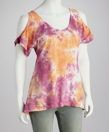 Pink & Coral Cutout Cloud-Dye Top - Women