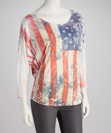 White American Flag Burnout Dolman Top