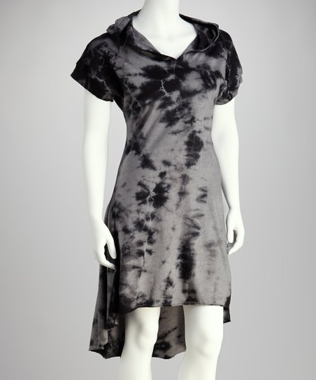 Charcoal Gray Cloud-Wash Hooded Dress