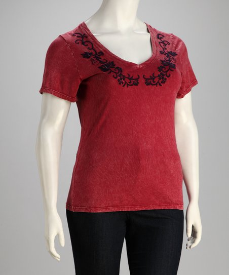 Cherry Embroidered Short-Sleeve Top - Plus