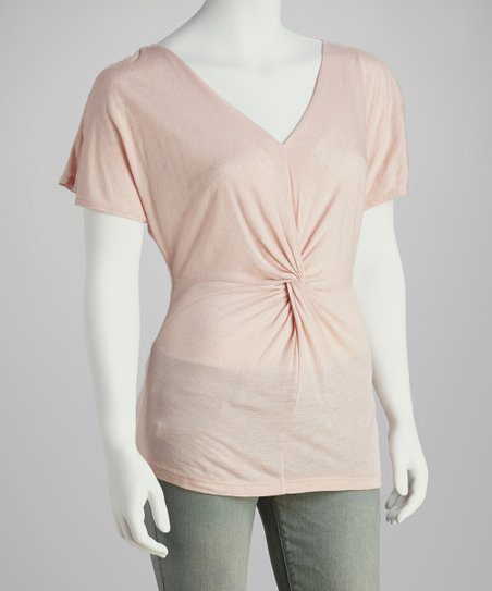 Pink Twist-Front Dolman Top - Women