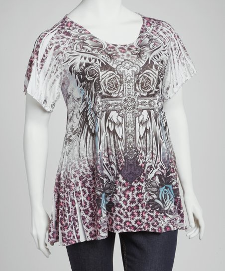 Gray Fleur-de-Lis Sublimation Short-Sleeve Top - Plus