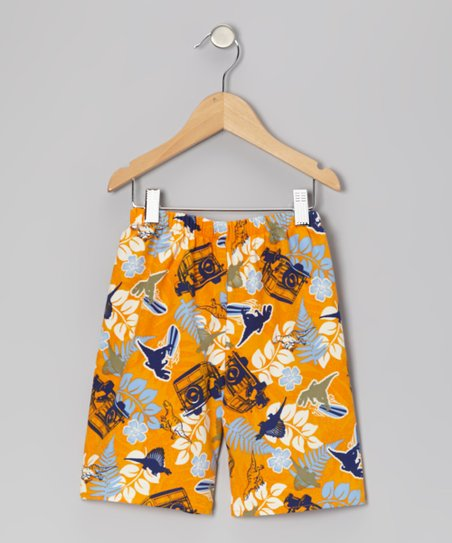 Orange Dino Safari Shorts - Infant, Toddler & Boys
