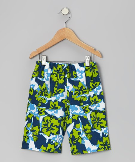 Blue Hibiscus Shark Shorts - Infant, Toddler & Boys