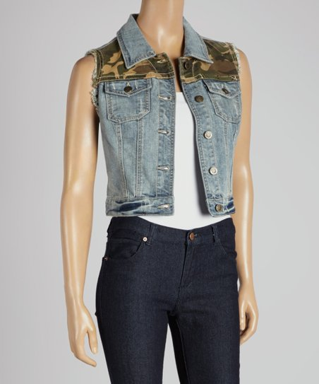 Blue & Camo Denim Vest