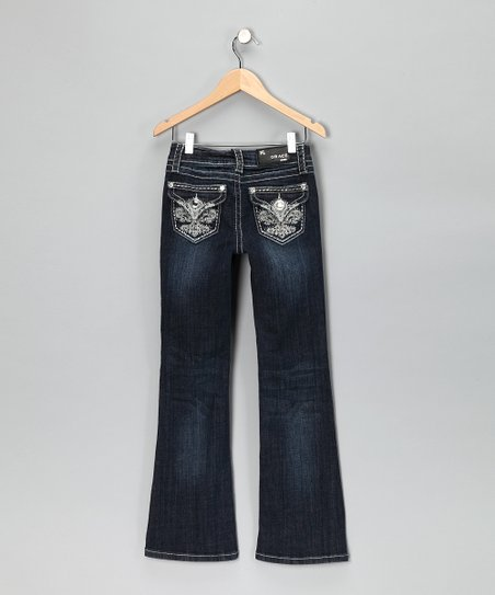 Dark Wash Fleur-De-Lis Bootcut Jeans