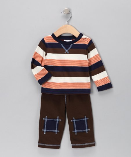 Mini Muffin Brown & Navy Stripe Tee & Pants - Infant