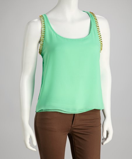 Green Studded Chiffon Sleeveless Top