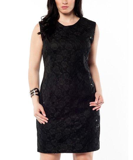 Black Lace Sequin Sheath Dress - Plus