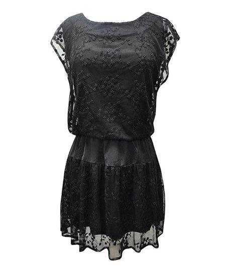 Black Floral Embroidered Sheer A-Line Dress